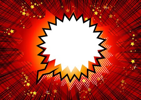 Comic book retro speech bubble on abstract background.