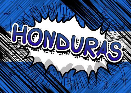 honduras: Honduras - Comic book style text. Illustration