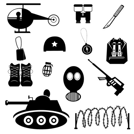 Collection of vector black military icons on white background. Illustration