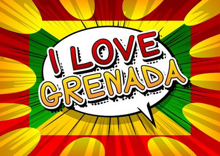 grenada: I Love Grenada - Comic book style text. Illustration