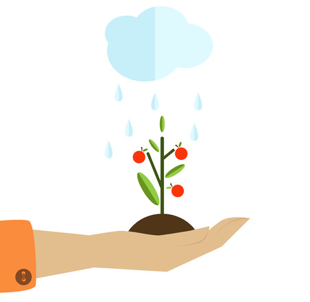 green it: Human hand holding a green plant and a cloud watering it.