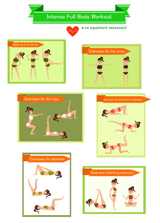 flexible woman: Vector illustrated body workout with cartoon woman. Illustration