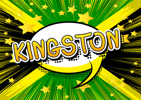kingston: Kingston - Comic book style text on comic book abstract background.