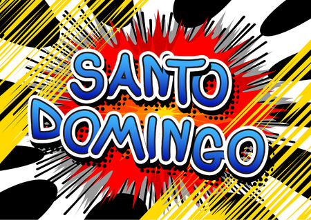 santo: Santo Domingo - Comic book style text on comic book abstract background.