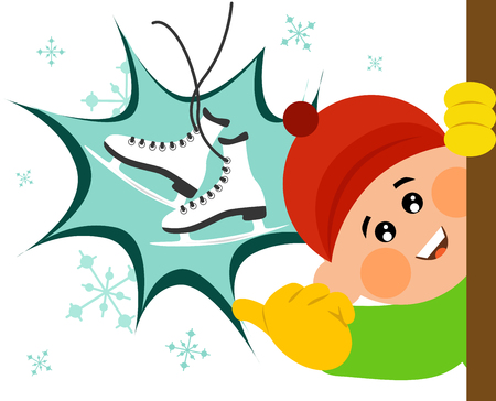 Vector illustrated cartoon cute boy showing an ice skate. Vectores