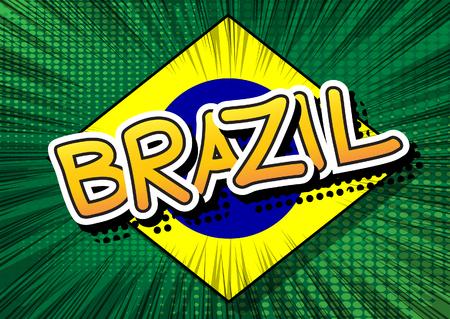 Brazil - Comic book style text. Иллюстрация