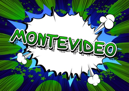 montevideo: Montevideo - Comic book style text on comic book abstract background. Illustration