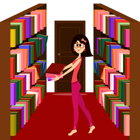 book racks: Pretty girl holding books in a library.