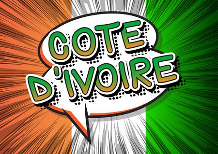 Côte d'Ivoire (Côte-d'Ivoire) - Comic style texte livre sur la bande dessinée abstrait. Banque d'images - 64190123