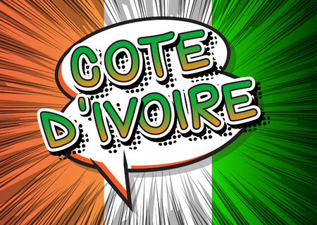 Cote dIvoire (Ivory Coast) - Comic book style text on comic book abstract background.