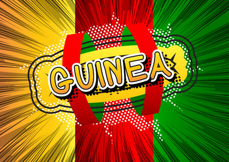 guinea: Guinea - Comic book style text. Illustration