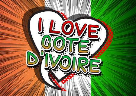 J'aime Cote dIvoire (Côte-d'Ivoire) - Comic style texte du livre. Banque d'images - 66448478