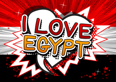 I Love Egypt - Comic book style text.