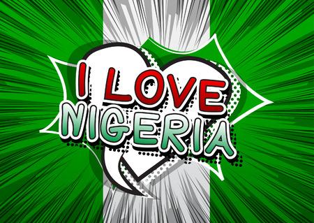 country nigeria: I Love Nigeria - Comic book style text.
