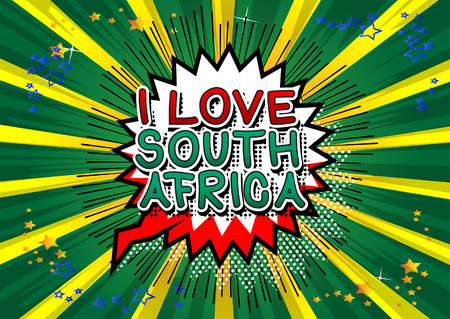 I Love South Africa - Comic book style text. Banque d'images - 130312864