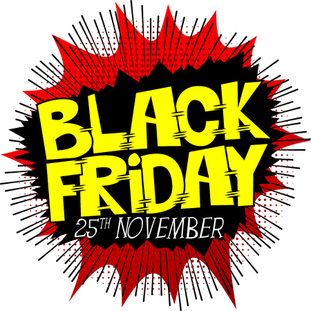 wholesale: Vector illustrated comic book style Black friday poster