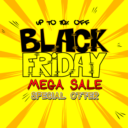 Vector illustrated comic book style Black friday poster