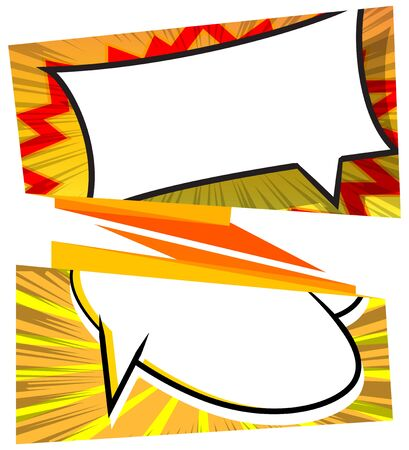 Vector banner set with comic book effects on the front.