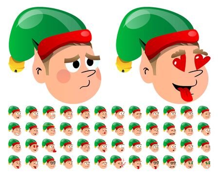 emotion faces: Vector Illustrated Christmas Elf Cartoon Emotion faces Illustration