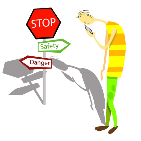 forgetful: Forgetful man is walking toward danger.