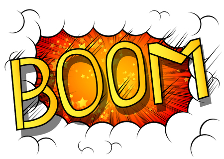 Vector illustrated comic book explosion with boom word.