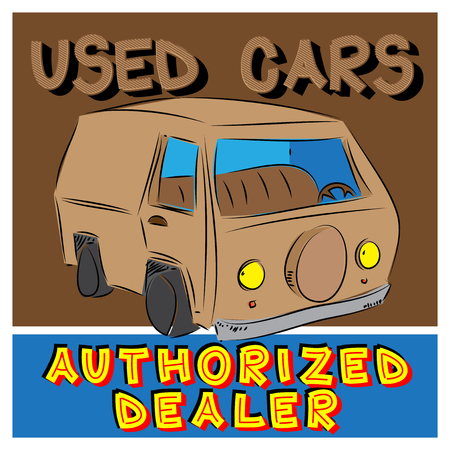 authorized: Vector vintage Used Cars Authorized Dealer sign with drawn car. Illustration