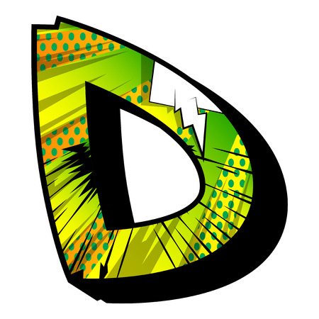 Letter D filled with comic book explosion, background.