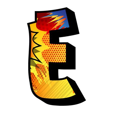 Lettre E rempli de bande dessinée explosion, fond.