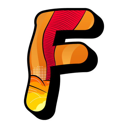 Letter F filled with comic book explosion, background.