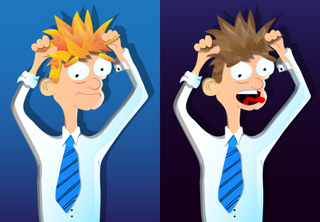 Two vector illustrated cartoon young depressed businessmen. Illustration
