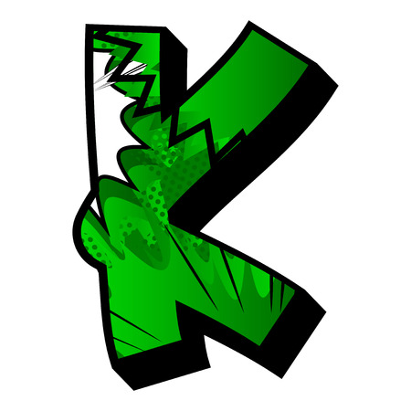 Letter K filled with comic book explosion, background.