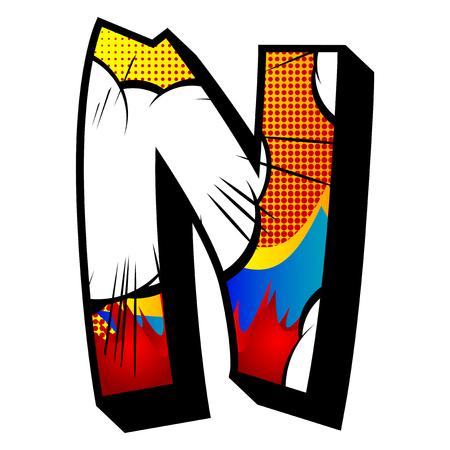 Buchstabe N mit Comic-Explosion, Hintergrund gefüllt. Vektorgrafik