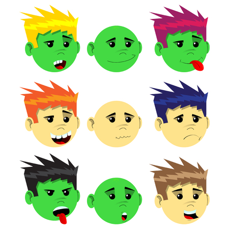 Vector Illustrated Cartoon Male Emotion face set.