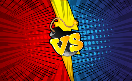 Vector background with versus letters in pop art style. Illustration