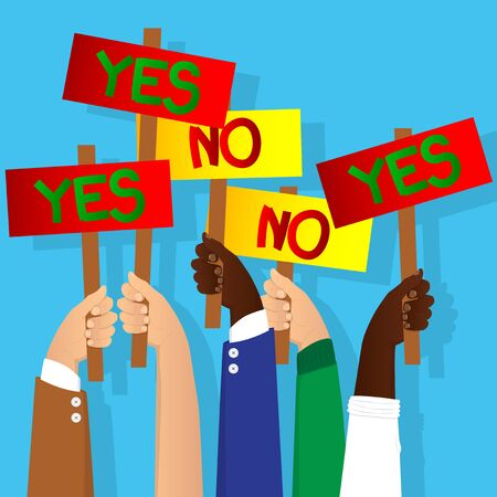 Vector illustrated cartoon hands holding yes and no vote signs.