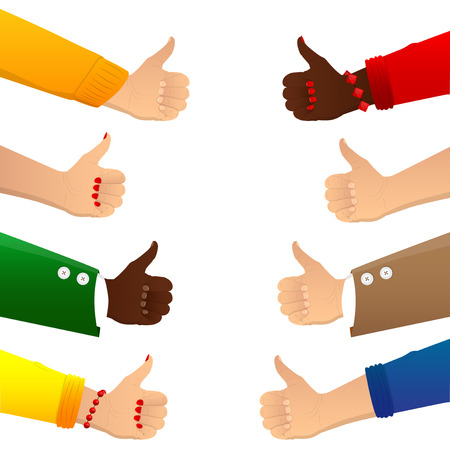 Vector illustrated cartoon multicultural group thumbs up.