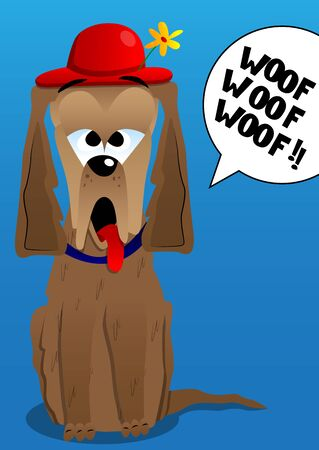 barking: Vector illustrated cartoon  barking dog with red hat and flower.