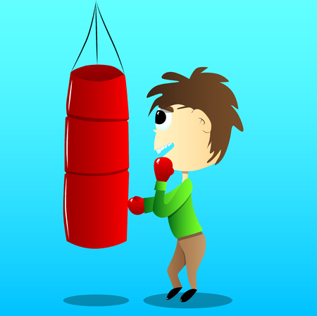 Vector illustrated cartoon cute boxing kid hitting a sandbag.