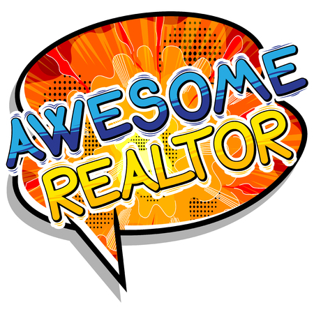 Awesome Realtor - Comic book style word. Çizim