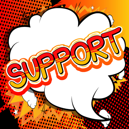 Support - Comic book style word.