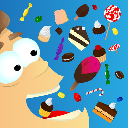 sweetstuff: Vector illustrated cartoon character eating sweets. Addicted boy with a lot of unhealthy food. Illustration