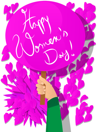 Vector illustrated cartoon hand holding Happy Womens Day sign.