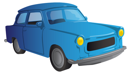 Vector illustrated cartoon 90s European car on white background.