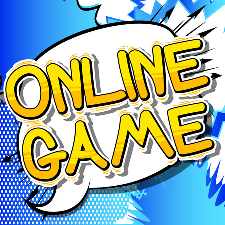 Online Game - Comic book style word on abstract background.