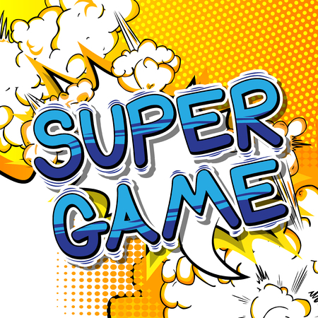 Super Game - Comic book style word on abstract background. Illustration