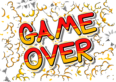 unsuccess: Game Over - Comic book style word on abstract background.
