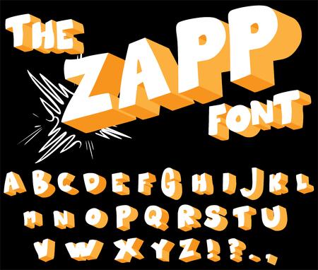 La police Zapp - bande dessinée, alphabet de style dessin animé. Vecteurs
