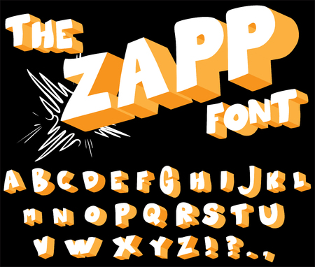 The Zapp Font - comic book, cartoon style alphabet. Illustration