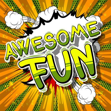 Awesome Fun - Palabra de estilo cómic en el fondo abstracto. Foto de archivo - 74559133