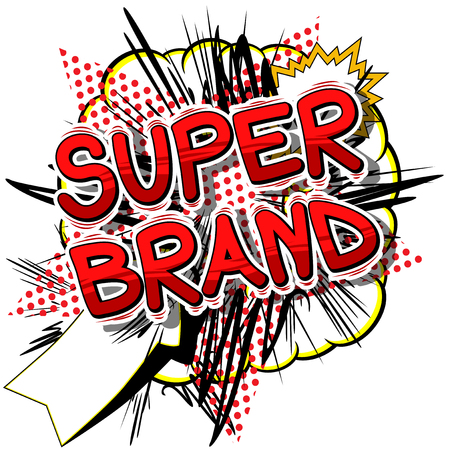 Super Brand - Comic book style word on abstract background. Illustration